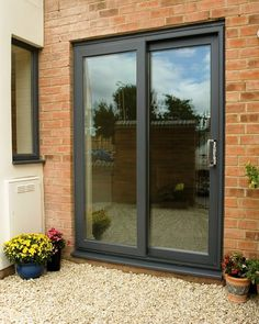 Developed by Eurocell to meet the security standards laid out by Approved Document Q of the Building. French Doors Patio, Sliding Patio Doors, Sliding Glass Door, Single Patio Door, Patio Door Handle, Patio Deck Designs, Main Door Design, Garden Buildings, Home Builders
