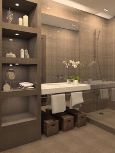 Sporting clean lines and an elegant color tone, this bathroom is a definite crowd pleaser!