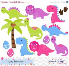 50% OFF - INSTANT DOWNLOAD, Girls Dinosaur Clipart, Dinosaurs for girls, Dino party, for commercial use or personal use