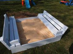 Sandbox benches fold flat to become cover. My kids played on this at a playgroup today and Steven says he'll build us one!