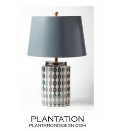PLANTATION | Geometric Porcelain Table Lamp | Ivory