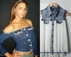 Reciclagem de calça jeans. Esta ideia é simples de executar e o resultado é excelente. Corte as calças como exemplifico na figura e costure. Para que este