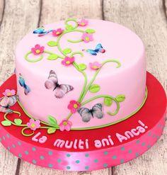 Torturi - Viorica's cakes: Tort aniversar cu fluturasi pentru Anca