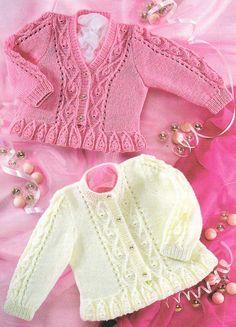 "Knitting Pattern ~ Frilled Edge V/Round Neck Baby Cardigan 16""- 26"" 4 ply"