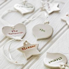set of three personalised hanging decorations by badgers badgers | notonthehighstreet.com