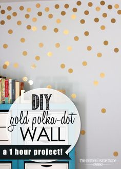For my whatever room: DIY Gold Polka-Dot Wall (top half), blush/coral tone on bottom half of wall?