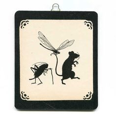 Child's Picture Book Illustration Wall, Shelf, Gift Hanger Plaque Black and White Silhouette, Mouse Cricket Moth on a Walk, Hand Made Panel