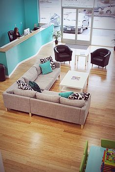 I like the open floor plan of this waiting area with the option of large and small seating.