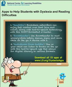 Apps to Help Students with Dyslexia and Reading Difficulties. #iphone #ipad #iOS #kids #Apps #learning