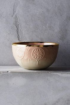 NEW Anthropologie Tearoom Nut Bowl Blush Gold Rim Heirloom Treasure Portugal Serveware, Tableware, Black Granite Countertops, Teal Accents, Ice Cream Bowl, Quirky Home Decor, Blush And Gold, Cereal Bowls, Diy Craft Projects