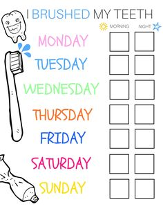 I Brushed My Teeth Weekly Chart C List For Kids Cs