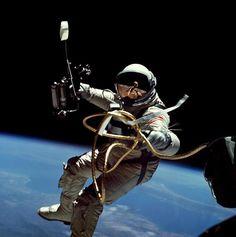 "The conversation around space travel in the 1960s tends to center around the first moon landing in 1969. But another incredible event took place four years earlier: the first spacewalk (which celebrates its 50th anniversary in March 2015). The first American to complete a spacewalk was Ed White, pictured here in Gemini IV: Spacewalk I (S65-34635). He described the moment of returning to the spacecraft as the ""saddest moment of my life."" Of the many images taken of White on this mission, we…"