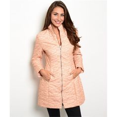 Peach Puffer Coat Has lace detail. So cute! 100% polyester. Jackets & Coats Puffers