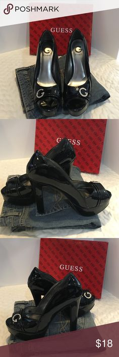 G By Guess Black 5 in. Heel w/ Buckle These go great with jeans or a dress. Please see the last picture for rhinestones missing on the G buckle.  These were worn a few times, but still have plenty of use. I just grew out of them 😕. Please ask questions!  Thanks! G by Guess Shoes Heels