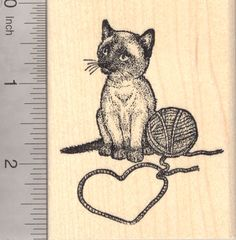 Valentine's Day Siamese Cat Rubber Stamp, Kitten with Yarn (K20301) $12 at RubberHedgehog.com