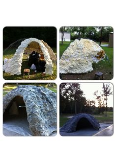 Giant empty tomb for Easter prop. Old tent frame, chicken wire, spray foam and way to much paper mâché!