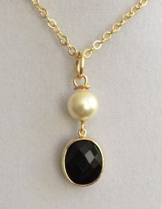 Bridal Pearl and Black Onyx Necklace by joytoyou41 on Etsy, $28.00