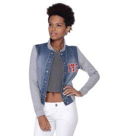 Jaqueta Feminina em Jeans com Mangas em Moletom - Lojas Renner