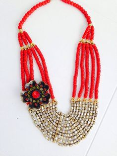 Red Bib Necklace Beaded Red and Gold Brooch by AprilGetsCrafty, $40.00
