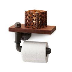 RECLAIMED WALNUT TOILET PAPER HOLDER | walnut wood, industrial decor | UncommonGoods