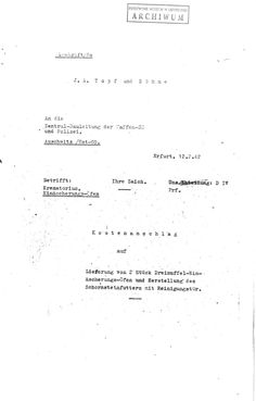 Covering note on quotation from Topf und Söhn regarding two crematorium ovens, dated December 2, 1942