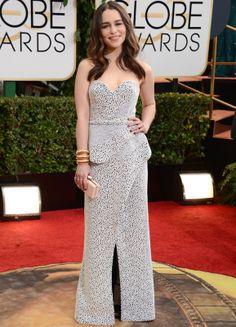 GOLDEN GLOBE AWARDS '14 _ Emilia Clarke con un  armado Proenza Schoulercon escote corazón, peplum y abertura en la falda