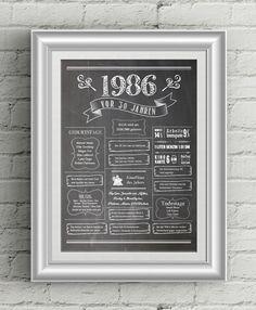 Aktuelle Projekte bei LoveAndLilies.de: Retro Geburtstags-Chalkboard 1986 - zum 30. Geburtstag / 30th Birthday Chalkboard