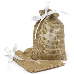 Burlap Favor Bag with Starfish Design :: $1.75