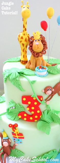 Adorable Jungle Cake Tutorial!! Member section of MyCakeSchool.com!