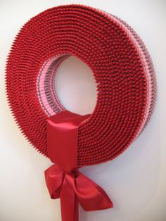 Wreath Made from 3000 Red Crayons