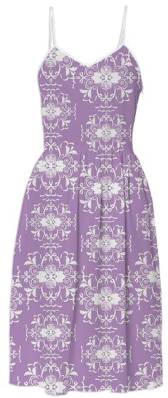 Lovely Lavender and White Damask Dress from Print All Over Me