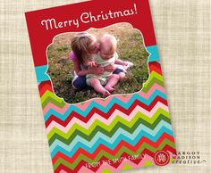 Bright chevron photo card with letter on back!