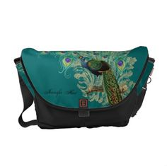 Vintage Peacock, Feathers n Etchings Pattern Bag Messenger Bag.  Lovely teal color with an elegant peacock on the front.