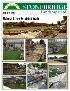 We can turn any ordinary backyard into the lap of luxury, spruce up pre-existing spaces, or introduce a new functional and artistic addition to your property.  www.stonebridgeinterlock.com Stone Retaining Wall, Retaining Walls, Natural Stones, Backyard, Spaces, Canning, Landscape, Luxury, Wood