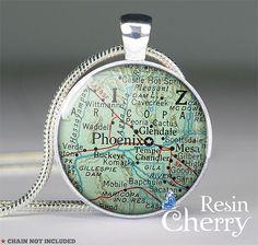 Phoenix/ Mesa map jewelry pendant