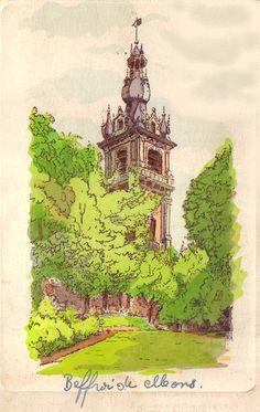 Carte illustrée Beffroi de Mons [image retravaillée avec PhotoFiltre]