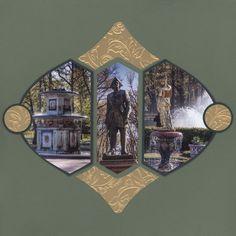 """Quel plaisir de s'évader dans les magnifiques jardins de Peterhof! Pour illustrer cette promenade voici quelques pages réalisées avec le gabarit """" noisette"""". Le die baroque m'a permis de réaliser une fenêtre donnant sur la page suivante. Des tampons angles,..."""