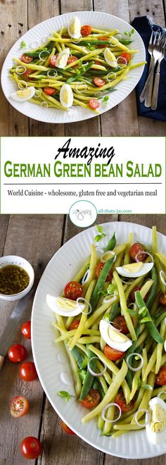 Amazing German green bean salad with fresh beans, tomatoes, and boiled eggs then tossed with garlic balsamic vinaigrette is an effortless vegetarian dish made in 15 minutes and a summer favorite!