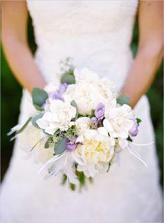 purple white bridal bouquet