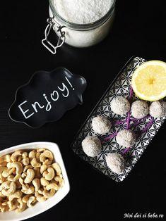 Bomboane raw cu nucă de cocos şi lămâie - Flavia Hiriscau Vegan, Food, Bebe, Essen, Meals, Vegans, Yemek, Eten
