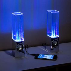 LED Light Fountain Speakers. Water dances with the music. $50.