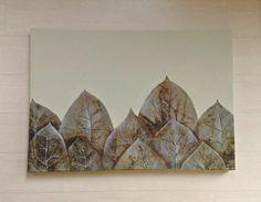Dipinto moderno con grandi foglie/ Quadro minimalista a colori naturali/ Dipinto originale con foglie/ Quadro moderno  complemento d arredo by PaintingsByCipeciop