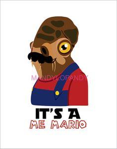 Mario Wars Admiral Ackbar Graphic Illustration by ShopMANDYLO, $30.00