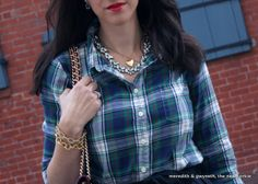 J. Crew Plaid Shirt with Black Full Skirt and Rebecca Minkoff Quilted Affair Bag