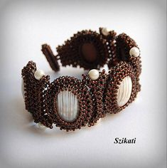 Items similar to Brown Beadwoven Cuff Bracelet, Original Beadwork, Elegant Beaded Fashion Jewelry, – Beads Seed Bead Art, Handmade Gifts For Her, Right Angle Weave, Beaded Statement Necklace, Pendant Necklace, How To Make Beads, Bead Weaving, Pearl Beads, Women Accessories