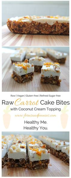 Raw Carrot Cake Bites with Coconut Cream Topping. These bite of spring are glute… Raw Carrot Cake Bites with Coconut Cream Topping. These bite of spring are gluten-free, vegan, refined sugar-free and paleo. Find the recipe at www. Cake Vegan, Raw Vegan Desserts, Raw Cake, Raw Vegan Recipes, Vegan Treats, Healthy Recipes, Raw Dessert Recipes, Diet Desserts, Protein Recipes