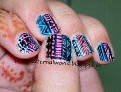 Colorful #Tribal Nail Art
