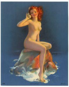 Nude Sea Nymph Seashell by Jules Erbit (1940's)