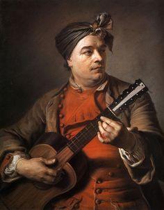 Maurice Quentin de La Tour (1704-1788). Jacques Dumont le Romain playing the guitar