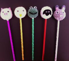pompom pencil toppers pig chick frog sheep bunny https://www.facebook.com/AndiesAccessories/photos/a.1075552895804758.1073741886.251860708173985/1077636875596360/?type=3&theater